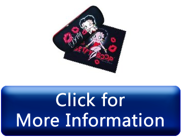 Straightforward Bettie Boop Kisses Hard Eyeglass Case and Cleaning Cloth